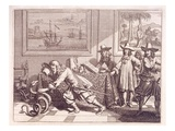 Dealing with a Cobra Which Has Invaded the Dutch Officers' Rooms, 1672 (Engraving) Giclee Print by  Dutch