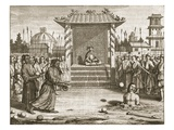 The Rajah of Kandy Presides over a Punishment: Death by Stoning of a Half Buried Prisoner Giclee Print by Philip Baldaeus