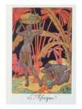 Africa', Illustration for a Calendar for 1921, 1920 (Colour Litho) Giclee Print by Georges Barbier