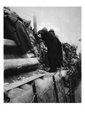 A French Priest in the Lines: a Cure Taking a Peep Through a Trench-Periscope Giclee Print by  French Photographer
