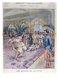 A Jiu-Jitsu Session in France, Illustration from 'Le Petit Parisien', 1905 (Colour Litho) Premium Giclee Print by  French