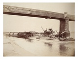 Runcorn Bridge, Making Concrete Wall (Sepia Photo) Giclee Print by Thomas Birtles
