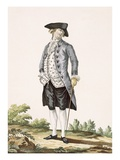 Gentleman in Grey Walking Suit, Engraved by Voysard, Plate No.162 Giclee Print by Pierre Thomas Le Clerc