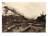 The Burned Remains of an Enemy Pioneer Camp (B/W Photo) Giclee Print by  German photographer