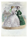 Fashionable Parisian Ladies at the Seaside, 1861 (Colour Engraving) Giclee Print by  French