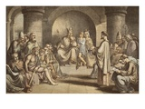 Alfred the Great Submitting His Laws to the Witan, Engraved by Jd Cooper (Coloured Engraving) Giclee Print by John Bridges