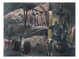 Cross-Section of a Coal Mine, Engraved by Jules Ferat (B.1819) 1889 (Colour Litho) Giclee Print by Ignace Francois Bonhomme