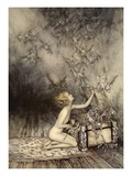 A Sudden Swarm of Winged Creatures Brushed Past Her Giclée-tryk af Arthur Rackham