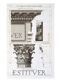Entablature, Capital and Inscription from the Temple of Jupiter Tonans (The Thunderer) Giclee Print by Antoine Babuty Desgodets