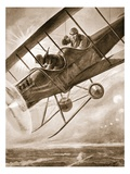 Captain Liddell Piloting His Aeroplane Down into the British Lines after Being Seriously Wounded Giclee Print by H. Ripperger