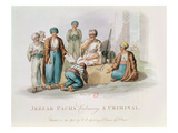 Jezzar Pacha (C.1720-1804) Condemning a Criminal (Colour Engraving) Giclee Print by Edward Orme