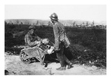 Captive French Soldier Helps His Wounded Comrade (B/W Photo) Giclee Print by  German photographer