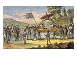 Newly Married Couple Being Taken for a Promenade in a Palanquin with Musicians Accompanying Giclee Print by Pierre Sonnerat