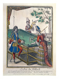 A Game of Billiards, Late Seventeenth Century (Coloured Engraving) Giclee Print by Nicolas Arnoult