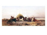 Threshing Wheat, New Mexico, C.1883 (Oil on Panel) Giclee Print by Thomas Moran