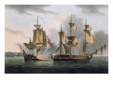 Capture of La Reunion, October 21st 1793, from &#39;The Naval Achievements of Great Britain&#39; Giclee Print by Thomas Whitcombe