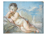 Cupid Reclining in a Cornfield (Chalk and Pastel) Giclee Print by Francois Boucher