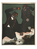 Brutality of Policemen, Illustration from 'L'Assiette Au Beurre: La Police', 23rd May 1903 Giclee Print by Georges d' Ostoya