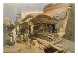 Native Shop in a Calcutta Bazaar, from 'India Ancient and Modern', 1867 (Colour Litho) Reproduction procédé giclée par William 'Crimea' Simpson