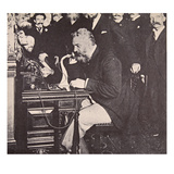 Alexander Graham Bell Making the First Call Between New York and Chicago, 1892 (B/W Photo) Giclee Print by  American Photographer