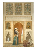 Cairo: Interior of the Domestic House of Sidi Youssef Adami: a Woman Standing in a Room Reproduction proc&#233;d&#233; gicl&#233;e par Emile Prisse d&#39;Avennes