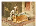 Sikh Priest Reading the Grunth, Umritsar, from 'India Ancient and Modern', 1867 (Colour Litho) Giclee-tryk i høj kvalitet af William 'Crimea' Simpson