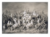 Chir Singh, Maharajah of the Sikhs and King of the Punjab with His Retinue Hunting Near Lahore Giclee Print by A. Soltykoff