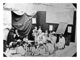 Girls&#39; School in Algiers, C.1860 (B/W Photo) Giclee Print by Jacques Antoine Moulin