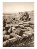 Heavy English Grenades; in the Background, a Burned English Aeroplane (B/W Photo) Giclee Print by  German photographer