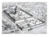 Reconstruction of the Louvre During the Period of the Frankish Kingdom in the 6th and 7th Centuries Giclée-Druck von Eugene Emmanuel Viollet-le-Duc
