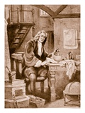 Sir Isaac Newton in His Little Room (Litho) Giclee Print by Dudley C. Tennant