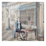 Gentleman Reading in His Library (Gouache on Paper) Giclee Print by  French