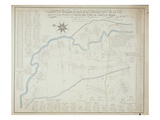 A New and Correct Map of Hackney Marsh, 1745 (Litho) Giclee Print by Robert Davies