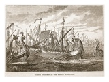 Greek Triremes at the Battle of Salamis (Litho) Giclee Print by  English