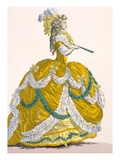 Ladies Court Dress in Yellow Silk with White and Green Frilled Edging, Engraved by Dupin Impression giclée par Augustin De Saint-aubin