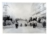 Barricade on Rue De Charonne During the Paris Commune, 18th March 1871 (B/W Photo) Premium Giclee Print by  French Photographer