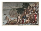 The Flood, Book I, Illustration from Ovid's Metamorphoses, Florence, 1832 (Hand-Coloured Engraving) Giclee Print by Luigi Ademollo