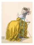 Lady Reclines on Chair Drinking Champagne, Engraved by Dupin, Plate No.193 Lámina giclée por Francois Louis Joseph Watteau