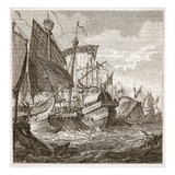 The Naval Battle Off Cape Pelorus (Litho) Giclee Print by  English