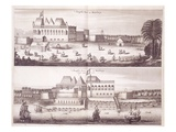Front and Waterside Views of the English Fort at Bombay, 1672 (Engraving) Giclee Print by  Dutch