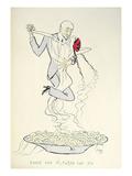 Gabriele D'Annunzio (1863-1938) Dancing with a Woman Above a Plate of Maccheroni (Colour Litho) Giclée-tryk af  Sem