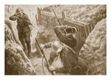 Private J. Hutchinson Shooting Two German Sentries When Leading an Attack on a German Trench Giclee Print by H. Ripperger