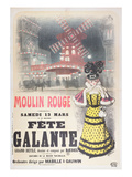 Poster Advertising a 'Fete Galante' at the Moulin Rouge, Montmartre, Paris. Late 19th Century Giclee Print by  Roedel
