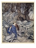 In the Forked Glen into Which He Slipped at Night-Fall He Was Surrounded by Giant Toads Giclee Print by Arthur Rackham
