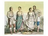 Michoacan Indians in Traditional Costume, Mexico (Colour Litho) Giclee Print by Gallo Gallina
