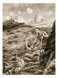 Private E. Warner Holding Singlehanded a Trench Which Had Been Evacuated Following a Gas Attack Giclee Print by Alfred Pearse