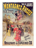 Poster Advertising the 'Montagnes Russes' Roller Coaster in the Boulevard Des Capucines, Paris 1888 Giclee Print by  French