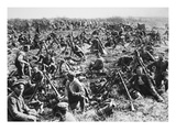 From the 'Great War in France': German Infantry Resting before Roupy, C.1918 (B/W Photo) Giclee Print by  German photographer