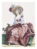 Lady's Elegant Caramel Coloured Satin Robe, Engraved by Le Beau, Plate No.172 Giclee Print by Francois Louis Joseph Watteau