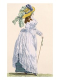 Sky Blue Promenade Dress with Green Underskirt, Engraved by Le Beau, Plate No.252 Lámina giclée por Francois Louis Joseph Watteau